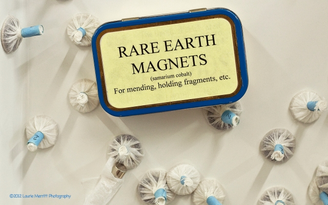 "08/28/12 - like the box says ""Rare Earth Magnets"".  I was told they're strong enough to pull and stretch out areas (i.e. corners) that, while being treated, need to be lined up correctly."
